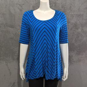 Dana Buchman blue stripe blouse